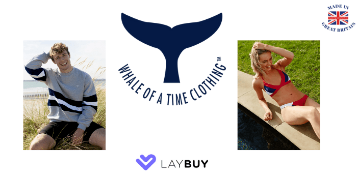 whale of a time clothing, sustainable clothing, made in great britain, celebrity british clothing, laybuy, laybuy shops, laybuy uk