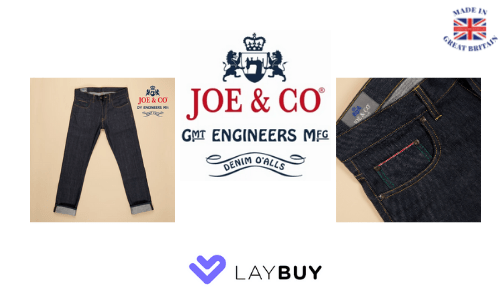 joe and co, british made mens jeans, made in britain, laybuy shops uk,