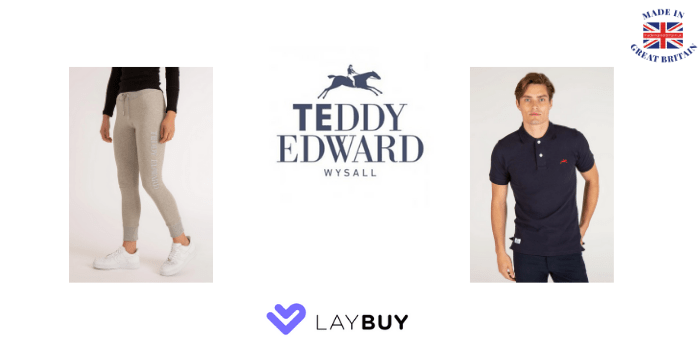 teddy edward clothing, women's sweatpants, womens lounge pants, men's polo shirt, made in britain, laybuy, laybuy uk store