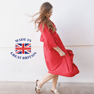 woman in red half sleeve flowing dress, best british womenswear brands, british blog, featured pages, made in great britain