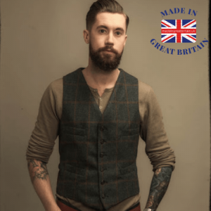 best british menswear brands, man i tweed wastcoat with beard hipster, made in great britain, british blog, made in britain blog, hipster young man with beard and waistcoat
