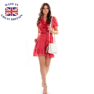 best british summer dresses, woman in red short summer dress with handbag, made in great britain
