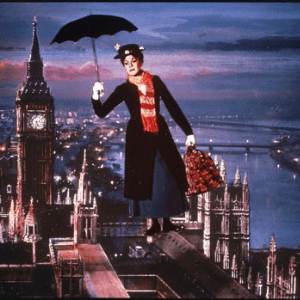 british carpet bags, mary poppins flying above london with umbrella and carpet bag and bog ben in background, made in britain