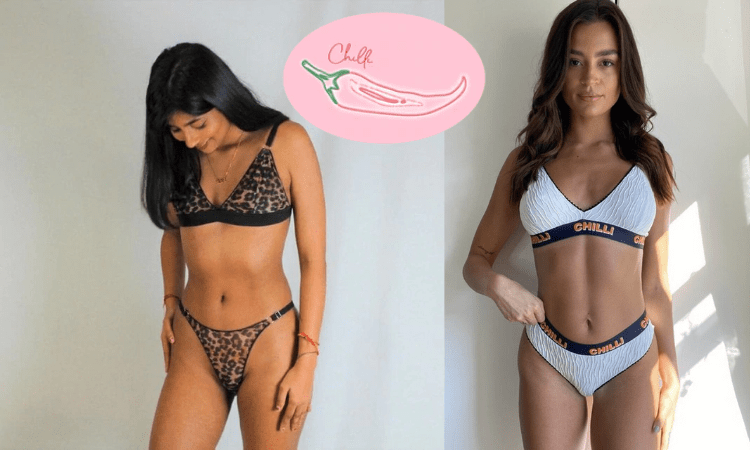 two young women in lingerie sets, one asian woman and one tanned white woman white lingerie and floral with plain background by Chilli brand, handmade in great britain