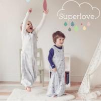 superlove merino, British made children's clothing, boy and girl in sleeping bags jumping in the air, british kidswear brands, made in uk