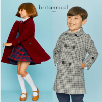 britannical london, luxury british made kids clothing, british made kids coats, girl and boy in british classic luxury coats, made in great britain