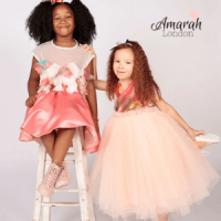 amarah london, occasionwear for gitls, two black and mixed race little girls of colour in special fancy pink dresses, british made children's clothes, black owned british made, black owned business