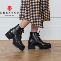woman wearing grenson emerson black hiker boot, british made women's shoes, british made women's boots