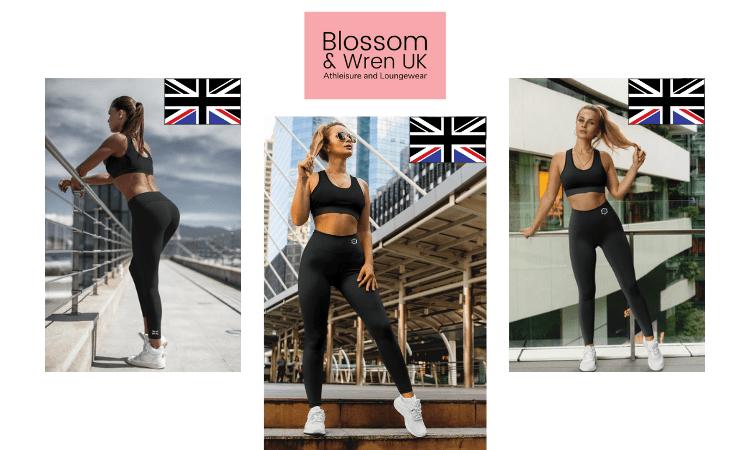 blossom and wren athleisure, british athleisure brands, uk athleisure brands, blonde woman in black british made athleisure yoga bottoms and bra, supreme yoga athleisure bottoms made in the uk by blossom and wren