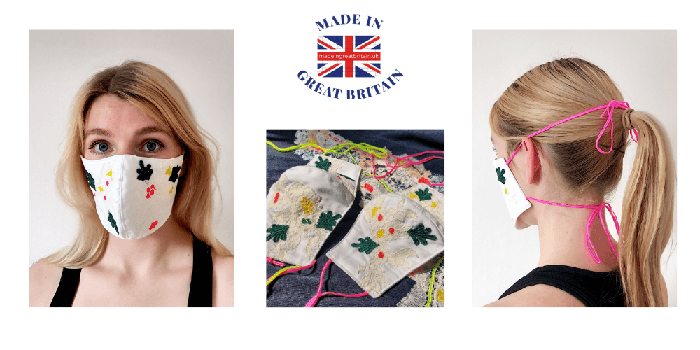 sophie pittom, limited edition hand embroidered 3 layer face mask covering that is washable designed by sophie pittom and made in England,