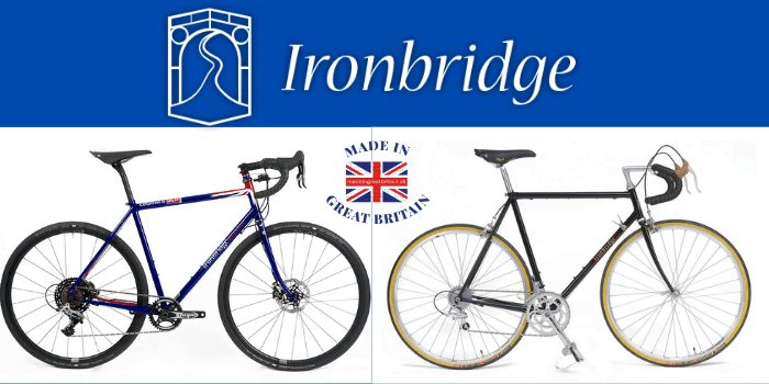 2 ironbridge bicycles alongside each other with made in greatbritain logo, british bicycles