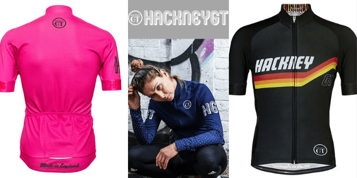 pink cycling short sleeve jersey made in england and black hackney gt short sleeved mens cycling jersey alongside a woman crouched down wearing a hackney gt blue cycling jacket, cycling clothing uk
