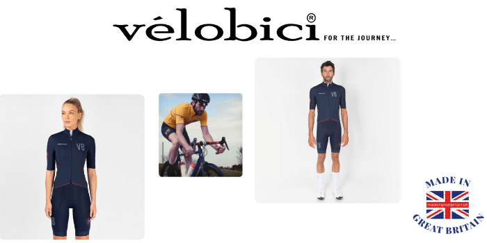 velobici cycling jerseys worn by a man and woman next to a man on a racing cycle made in uk, british cycling clothing