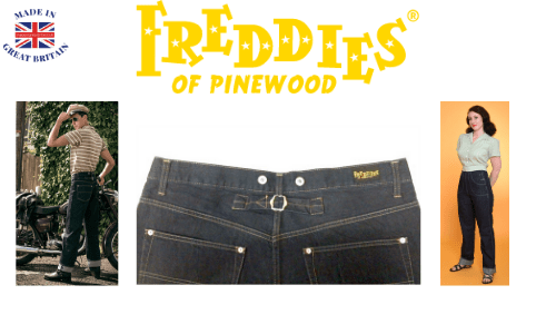 freddies of pinewood, woman wearing vintage style denim jeans and vintage clothing made in uk and mad wearing vintage jeans with turn up bottoms next to a 1950s american car made in uk jeans, british made jeans brands