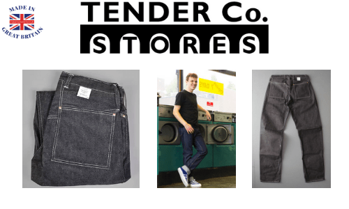 young man in a laundrette wearing tender co stores denim jeans that are made in england