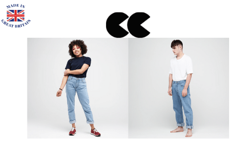 community clothing, young black girl wearing a pair of straight leg fade denim jeans, young white male wearing a pair of straight cut selvedge denim jeans made in England,