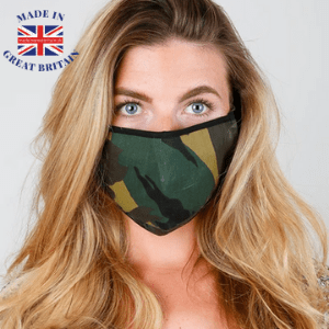 woman wearing an army camouflage face mask covering made in the uk, made in great britain, best british blog, best british brands