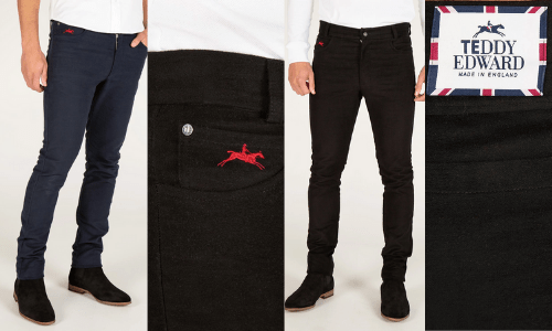 navy and black jeans made in britain by teddy edward, british made jeans, moleskin jeans