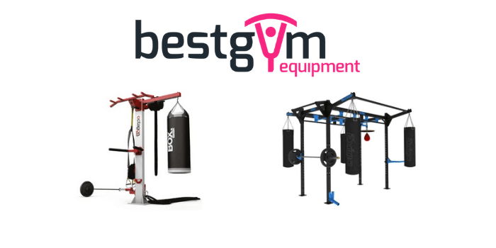 best gym equipment logo with weight frames and boxing bags, british made gym equipment bu octagon and exigo and watson