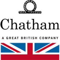 chatham a great british company black text logo with half a union jack flag below and a rope knot above, british men's shoes, men's shoes made in britain