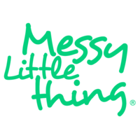 british childrens clothing category image showing messy little things green text logo