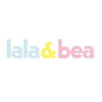british childrens clothing category image showing lala and bea text logo in blue, yellow and pink