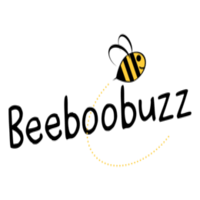 british childrens clothing, showing beeboobuzz text logo with cartoon bumble bee