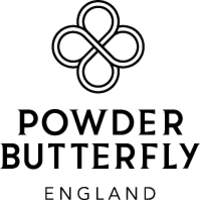 british made skincare products powder butterlfly england text logo on white background