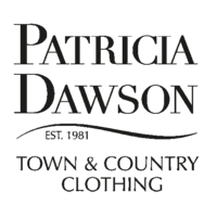 british made womenswear category logo for patricia dawson town and country text on a white background