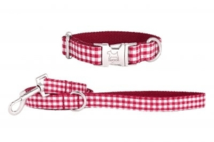 designer dog collars and leads, iwoof handmade dog leads, red and white