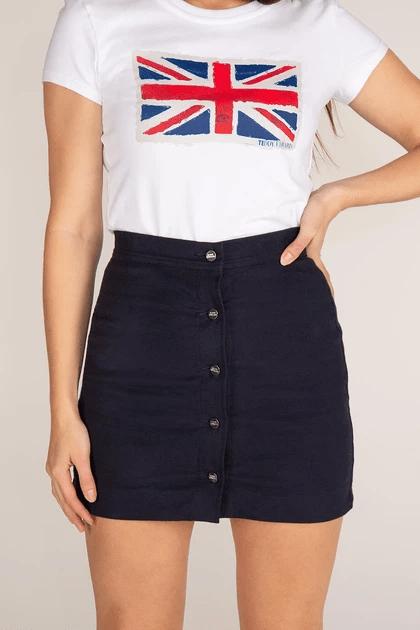 teddy edward, moleskin mini skirt, union flag t shirt, british luxury clothing brand