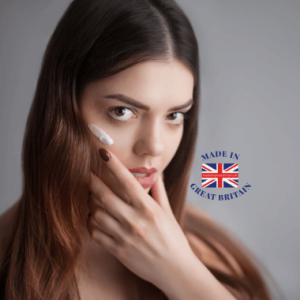beauty and skincare category, woman applying british made face cream,