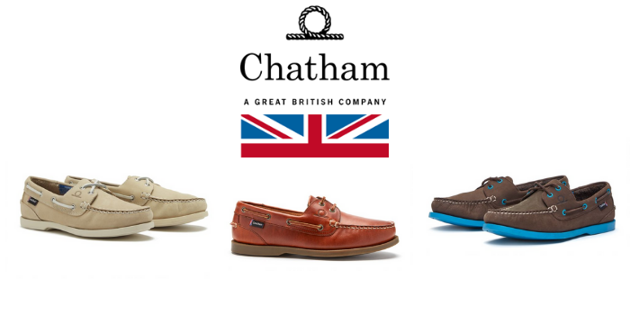 3 pairs of chatham marine deck shoes in various colours for men and women made in uk