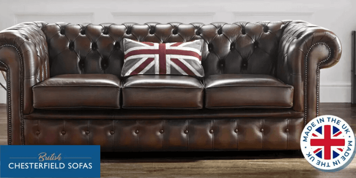 brown leather british chesterfield sofa made in uk