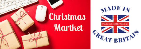 christmas market shopping made in great britain keyboard and gifts