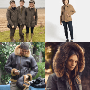women and men wearing British made coats and jackets