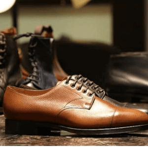 edwrad green luxury englaish brand shoes on display