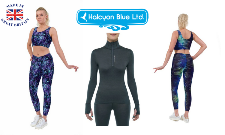 women's patterened lycra leggings and crop top gym wear by halcyon blue