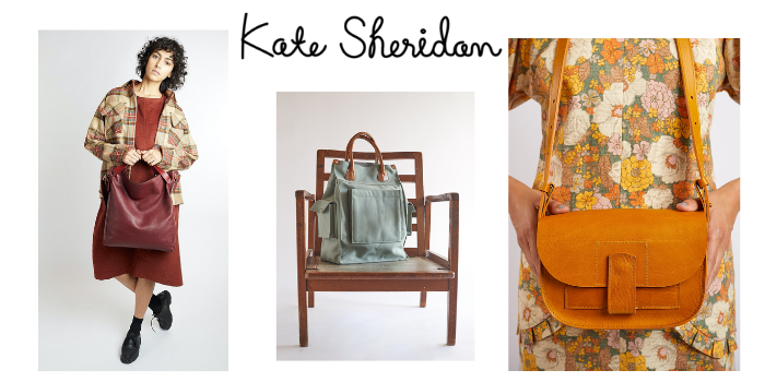 selection of kate sheridan bags and handbags designed and made in London