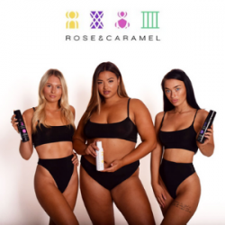 rose and caramel natural self tan and tanning products made in uk, tanned women of various body sizes