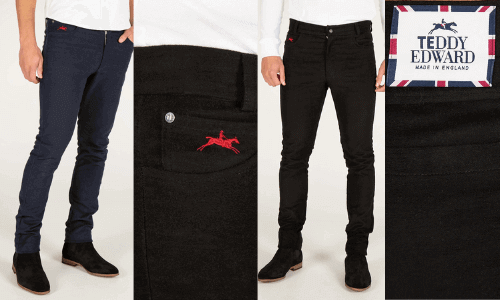 Teddy edward luxury moleskin jeans black and navy made in uk