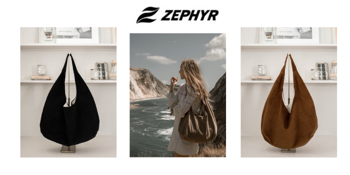 zephyr ethically made vegan bags and handbags in black and brown made in London UK
